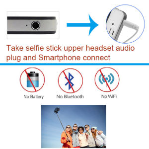 Extendable Handheld Aluminum Wired Mini Selfie Stick with Smartphone pictures & photos