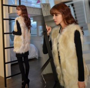2014 New Fashion Sweet Style Faux Fur Vest Winter Long Section of Large Size Women Wf-8472 pictures & photos