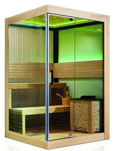2 People African White Pine Square Sauna/Infrared Sauna Room pictures & photos