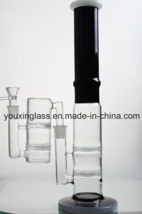 16.5′′ Glass Smoking Pipe with Blcak Base and White Honeycomb