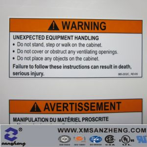 Custom UL CSA Caution Warning Dry Peel Plastic Metal Labels Stickers Tags for Machinery pictures & photos