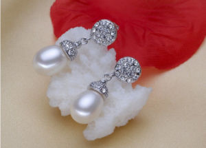 8mm AAA Grade Wholesale Drop Sterling Silver Real Fresh Water Cultured Freshwater Pearl Earring pictures & photos