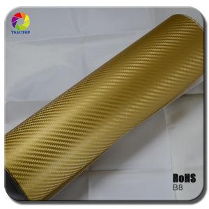 Tsautop 3D Carbon Fiber Vinyl for Car Wrapping& Gold pictures & photos