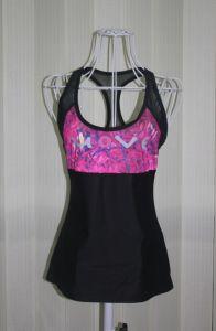 Fashion Black Mesh Designer Print Spandex Sport Singlets for Women (HGS1148)