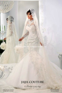 Muslim Wedding Dress Long Sleeve Collar Lace Bridal Wedding Gown W1471942 pictures & photos
