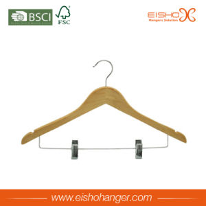Nature Wood Shirt Hanger with Two Clips (WL8001) pictures & photos