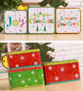 Christmas Square Tin Cans for Candy pictures & photos