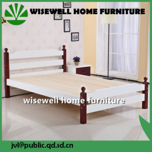 Solid Pine Wood Bi-Color Double Bed Design Furniture (WJZ-B113) pictures & photos