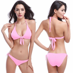 Women Sexy Push up Triangle Bikini Swimsuit White pictures & photos