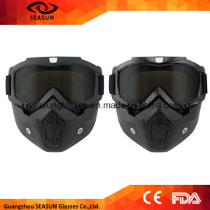 Men Women Moto Motocross Goggles Modular Mask Removable Goggles and Mouth Filter for Modular Open Face Motorcycle Helmet pictures & photos