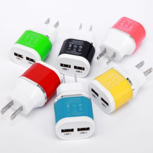 Newest Us//EU Travel Charger with 2 USB Output 2100mA pictures & photos