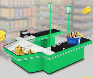Supermarket Double Sided U Shaped Checkout Counter pictures & photos