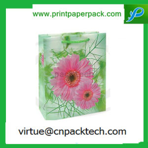 Delicate Green Floral Design Simpleness Kraft Paper Bag with Handle pictures & photos