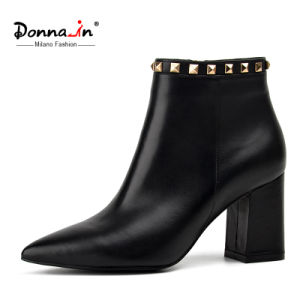 Casual Women Rivet Pointed Toe High Heels Lady Leather Shoes pictures & photos