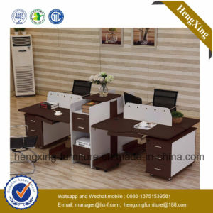 Modern 4 Seats Workstation Wooden Office Furniture with Cabinet (HX-NCD074A) pictures & photos