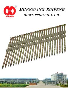"21 Degree, 3-1/4"" X. 120"" Framing Nails, Screw Shank Hot DIP Galvanized (HDG) Plastic Strip Nails pictures & photos"