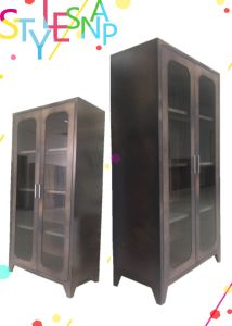 Book Cabinet with Double Swinging Steel Framed Glass Doors/Office Furniture pictures & photos