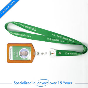 Flat Polyester Screen Printed Card Lanyards with Metal Buckle pictures & photos