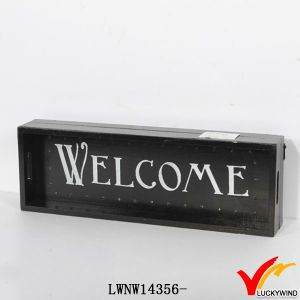 "Fish ""Welcome"" Vintage Hanging Antique Painted Wood Sign pictures & photos"