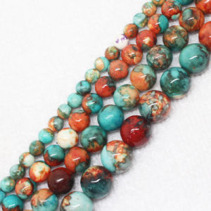 Wholesale 6-12mm Orang&Blue Snow Jasper Round Loose Beads pictures & photos