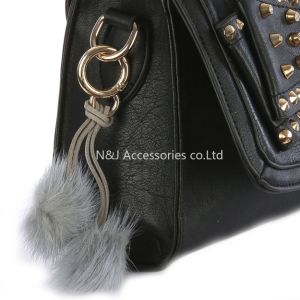Wholesale Faux Fur POM POM Bag Accessory Grey Double Balls Keychain Jewelry Gift pictures & photos