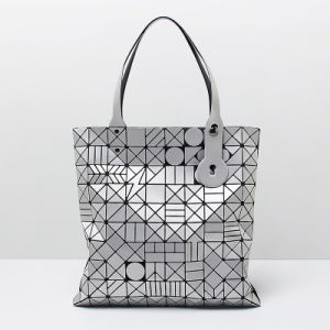 Matt Silver Geometric Patterns PU Handbag (A0119)