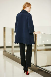 Solid Three Quater Sleeve Jacket with laser Cut Details on Cuff and Hem pictures & photos