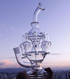 "High Quality 11""Inches Glass Pipes Water Pipe 8 Arm Perc 1gear Percolator Glass Bubbler Oil Rig14.4 mm Joint"