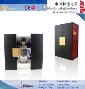 Luxury Red and Black PU LED Rail Slide Wine Box (6545)