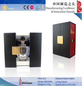 Luxury Red and Black PU LED Rail Slide Wine Box pictures & photos