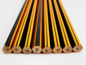 Striped Pencil Hex Pencil with Eraser Wooden Pencil pictures & photos