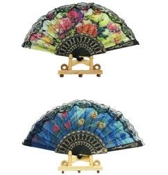 European Lace Dance Fan Promotion Ads Plastic Fan Key Ring