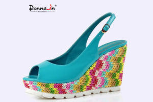 Lady White Rubber Outsole Weave Platform High Heels Women Sandals