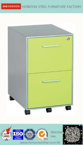 Steel Mobile Filing Cabinet with 3 Drawers and 5 Wheels pictures & photos