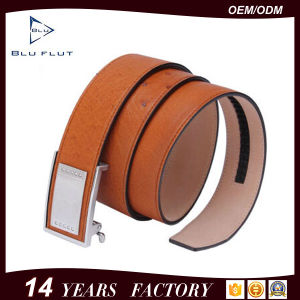 Custom Logo Brand Steel Metal Buckle Ostrich Leather Belt pictures & photos
