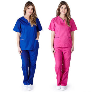Women′s Contrast Scallop Scrub Set Medical Nursing Uniform (A581)