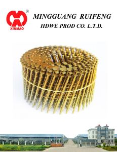 """Round Head, Flat Type, 2-1/4"""" X. 099"""", Ring Shank, Hot DIP Galvanized, 15 Degree Wire Collated Siding Nails, Coil Nail pictures & photos"""