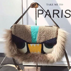 Hot Style Color-Collsion Fox Fur Shoulder Bag Fashion Lady Handbag Made in China Sy8444 pictures & photos