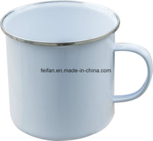 Enamel Mug with Stainless Steel Rim Edge pictures & photos