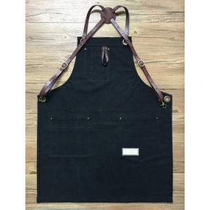 Factory Custom High Quality Black Canvas Carpenter Aprons with Cross Pack Leahter Strap pictures & photos