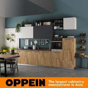 Oppein 360cm Wood Grain Pre-Assembled Kitchen Cabinet (OP17-HPL01) pictures & photos