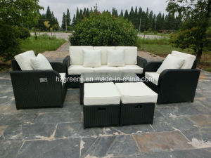 6 Pieces Gas Recliner Sofa Set with Stool Rattan Furniture pictures & photos