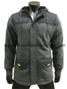 Leisure Melange Winter Hoodie Jacket for Men with Sherpa pictures & photos