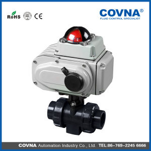 Covna Two Way Electric PVC Ball Valve with Limit Switch pictures & photos