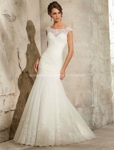 Lace on Tulle Cap Sleeve Bridal Wedding Dress pictures & photos