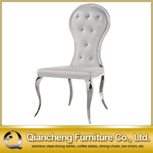 White Leather Stainless Steel Dining Chair with Diamonds pictures & photos