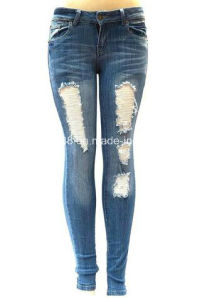 Womens Blue Denim Stretch Jeans Destroy Skinny Pants Wholesale, Ladies Jeans