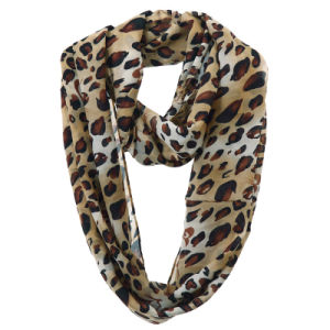 Lady Fashion Leopard Printed Polyester Chiffon Infinity Scarf (YKY1112) pictures & photos