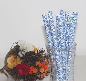 8*195mm Blue Fat Paper Straw for Stock Supply pictures & photos