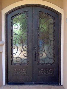 Dark Copper Eyebrow Arch Top Iron Double Entry Door for House pictures & photos